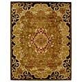 Handmade Classic Juliette Gold Wool Rug (7'6 x 9'6)