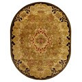 Handmade Classic Juliette Gold Wool Rug (7'6 x 9'6 Oval)