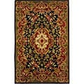Handmade Classic Juliette Black/ Green Wool Rug (4' x 6')