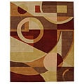 Handmade Rodeo Drive Deco Beige/ Multi N.Z. Wool Rug (7&#39;6 x 9&#39;6)