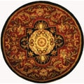 Handmade Classic Royal Red/ Black Wool Rug (3'6 Round)