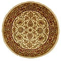 Hand-knotted Ivory/ Red Everlasting Wool Rug (8' Round)