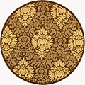Indoor/ Outdoor Crescent Chocolate/ Natural Rug (6'7 Round)