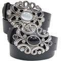 BT Changeable Leather Belt w/ Jeweled Buckle