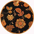Hand-hooked Autumn Leaves Black/ Orange Wool Rug (8' Round)