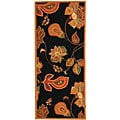 Hand-hooked Autumn Leaves Black/ Orange Wool Runner (2'6 x 10')