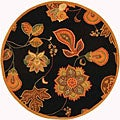 Hand-hooked Autumn Leaves Black/ Orange Wool Rug (4' Round)