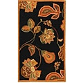 Hand-hooked Autumn Leaves Black/ Orange Wool Rug (2'9 x 4'9)