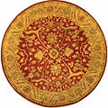 Handmade Antiquities Mahal Rust/ Beige Wool Rug (3'6 Round)