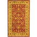 Handmade Antiquities Mahal Rust/ Beige Wool Rug (3' x 5')