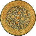 Handmade Antiquities Mahal Blue/ Beige Wool Rug (6' Round)