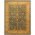Handmade Antiquities Mahal Blue/ Beige Wool Rug (7'6 x 9'6)