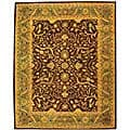 Handmade Antiquities Mahal Brown/ Blue Wool Rug (7'6 x 9'6)