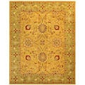 Handmade Isfan Dark Gold/ Light Green Wool Rug (8'3 x 11')