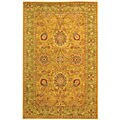 Handmade Antiquities Isfan Dark Gold/ Light Green Wool Rug (5' x 8')