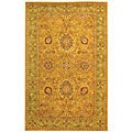 Handmade Antiquities Isfan Dark Gold/ Light Green Wool Rug (4' x 6')