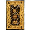 Handmade Antiquities Mashad Black/ Ivory Wool Rug (3' x 5')