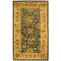Handmade Antiquities Mashad Blue/ Ivory Wool Runner (2'3 x 4)