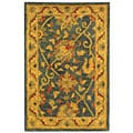 Handmade Antiquities Mashad Blue/ Ivory Wool Rug (2' x 3')