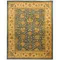 Handmade Antique Mashad Blue/ Ivory Wool Rug (9&#39;6 x 13&#39;6)