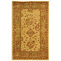 Handmade Antiquities Mashad Ivory/ Green Wool Rug (3' x 5')