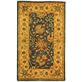 Handmade Antiquities Mashad Blue/ Ivory Wool Rug (3' x 5')