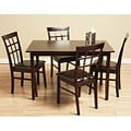 Justin 5-piece Bi-cast Leather and Wood Dining Set