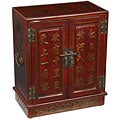 Hand-painted Red Bonded Leather Oriental Storage Cabinet