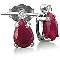 14k White Gold Ruby and Diamond Stud Earrings (J-K, I1)