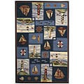 Hand-hooked Nautical Blue Wool Rug (5'3 x 8'3)