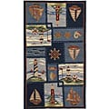Hand-hooked Nautical Blue Wool Rug (3'9 x 5'9)