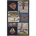 Hand-hooked Nautical Blue Wool Runner (2'6 x 4')