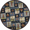 Hand-hooked Nautical Blue Wool Rug (8' Round)