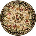 Hand-hooked Rooster and Hen Cream/ Black Wool Rug (5'6 Round)