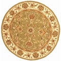 Handmade Isfahan Sage/ Ivory Wool and Silk Rug (6&#39; Round)