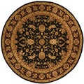 Safavieh Handmade Isfahan Black/ Burgundy Wool and Silk Rug (8' Round)