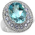 Malaika Sterling Silver Blue Topaz and Tanzanite Ring