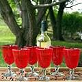 Set of 6 'Scarlet Temptation' Wine Glasses (Mexico)