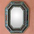 Hand-painted 'Sky Blue' Mirror (Peru)
