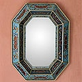 Hand-painted &#39;Sky Blue&#39; Mirror (Peru)