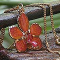 Goldplated Natural Orchid 'Orchid Star' Necklace (Thailand)