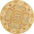 Handmade Bouquet Soft Green/ Beige Wool and Silk Rug (4&#39; Round)