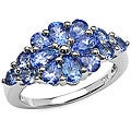 Malaika 10k White Gold Genuine Tanzanite Cluster Ring