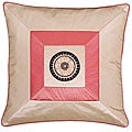Beige/ Pink Silky Squares Cushion Cover
