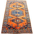 Persian Hamadan Orange/ Blue Rug (6'7 x 11'5)