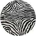 Alexa Zebra Animal Pattern Black/ White Wool Rug (6' Round)