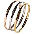 Nexte PolishedTri-color Stackable &#39;Fin de Semana&#39; Bangle Bracelets (Set of 3)