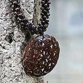 Coconut Shell &#39;Floral Medallion&#39; Necklace (Thailand)