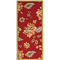 Hand-hooked Botanical Red Wool Runner (2'6 x 6')