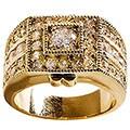 Simon Frank 14k Yellow Gold Overlay 'Sparkler' CZ Men's Ring